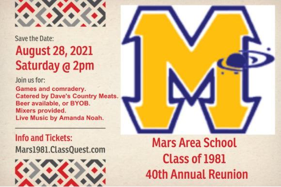 Mars Area High School Class of 1981 40th Annual Reunion