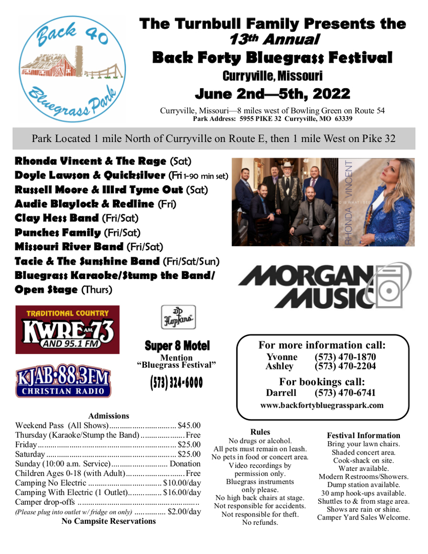 13th Annual Back Forty Bluegrass Festival