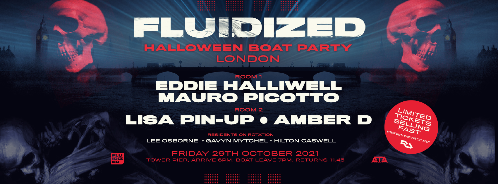 Fluidized presents Eddie Halliwell and Mauro Picotto for its Halloween Boat Party