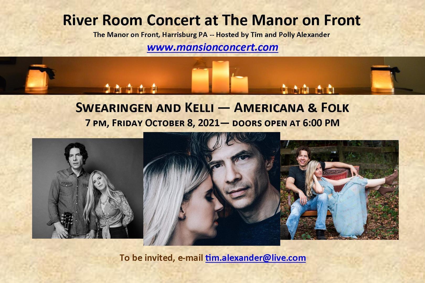 An Evening with Swearingen & Kelli – October 8, 2021 – Harrisburg, PA.