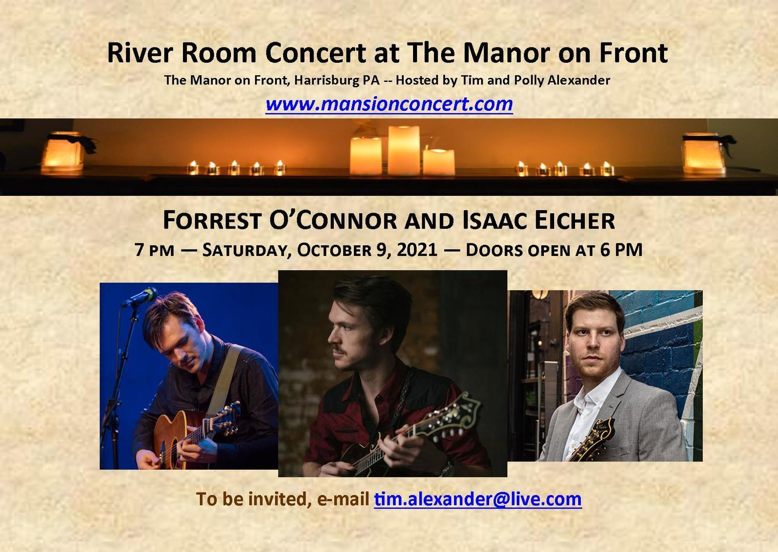An Evening with Forrest O'Connor and Isaac Eicher – October 9, 2021 – Harrisburg, PA.