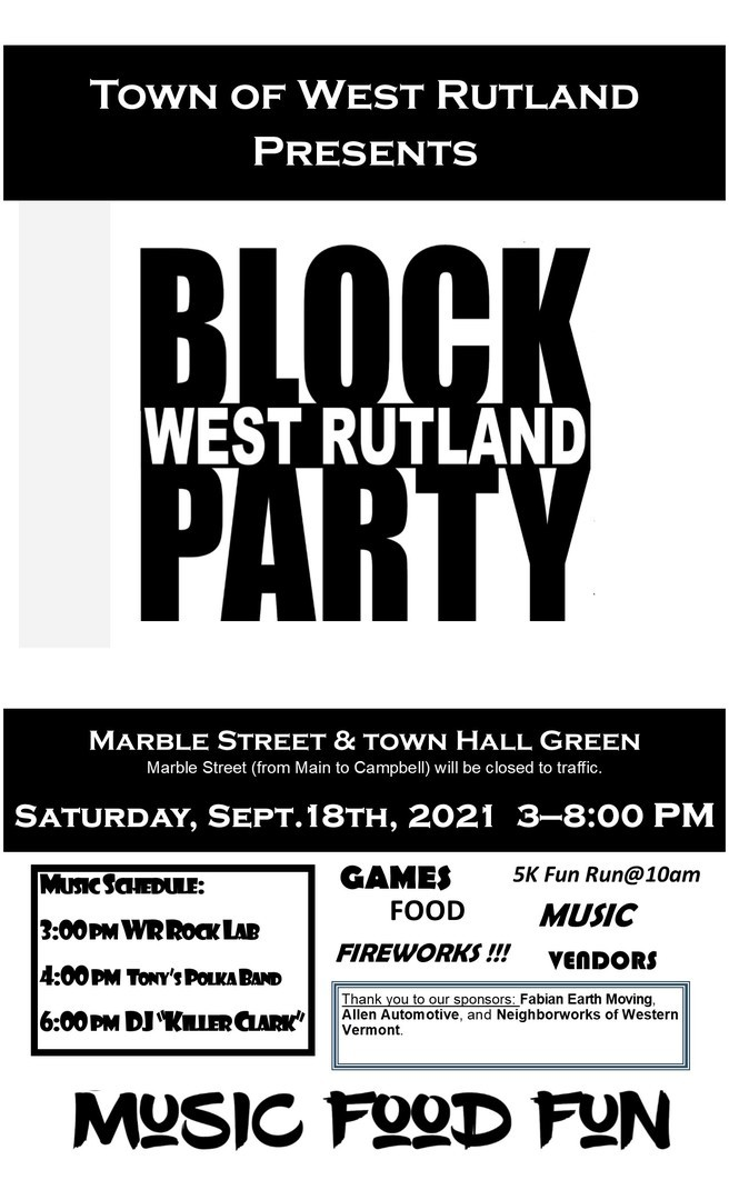 Town of West Rutland Community Block Party