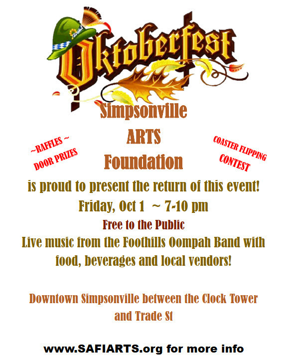 Oktoberfest - Friday, Oct 1 - downtown Simpsonville @ The Clock Tower - PROST!