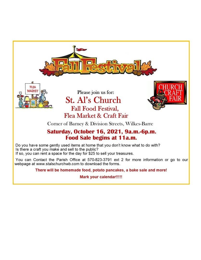 St. Al's Church Fall Food, Flea Market and Craft Fair