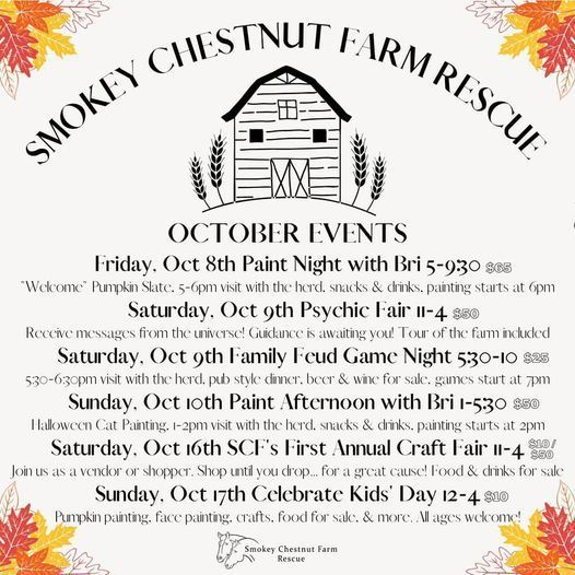Smokey Chestnut Farm Octoberfest - Oct 16th SCF's First Annual Craft Fair