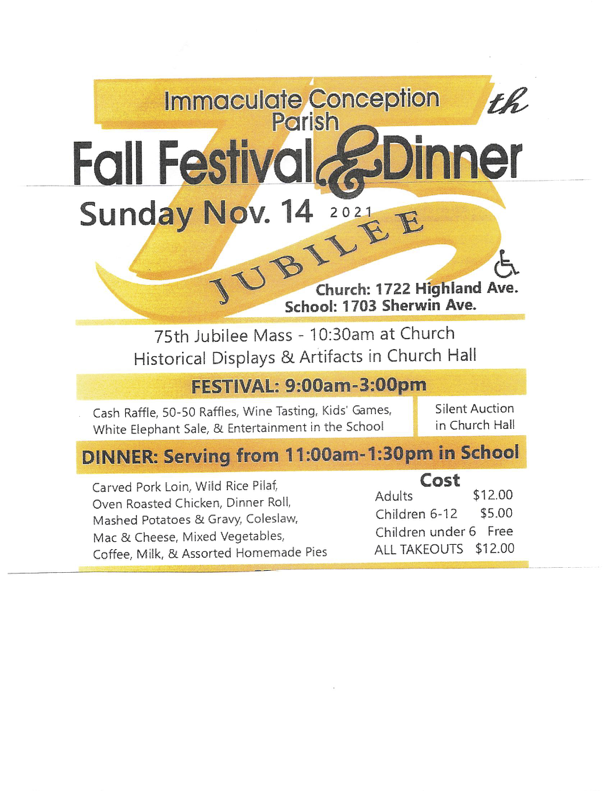 Immaculate Conceptio Parish 75th Jubilee Fall Festival and Dinner