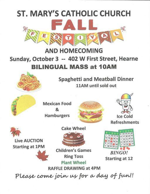 Fall Festival and Homecoming at St. Mary's Catholic Church in Hearne Oct 3